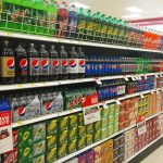 Photo of soda aisle in a grocery store