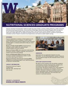 Nutritional Sciences Graduate Programs One-Page Handout