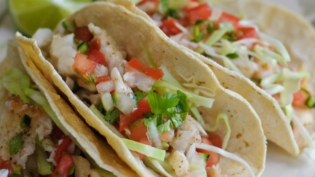 Fish tacos on dinner plate