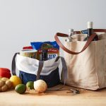 Grocery bag filled with groceries